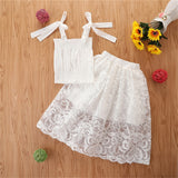 Girls Solid Loose Lace Sling Top & Skirt wholesale childrens clothing
