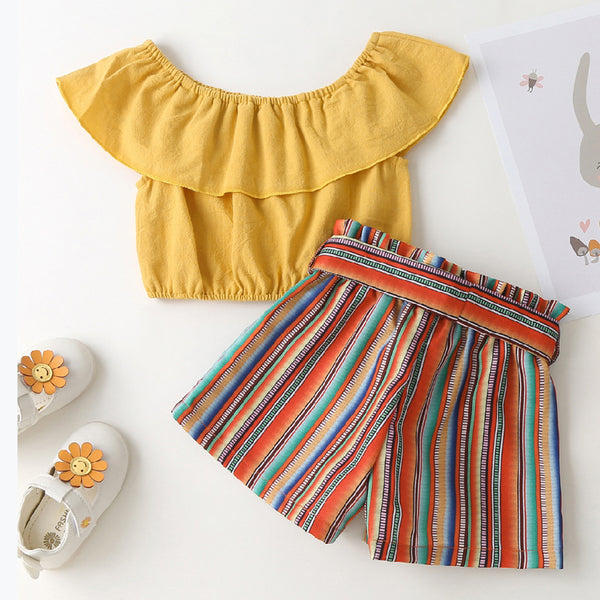 Girls Solid Lotus Leaf Collar Top & Striped Shorts wholesale children's boutique clothing suppliers usa