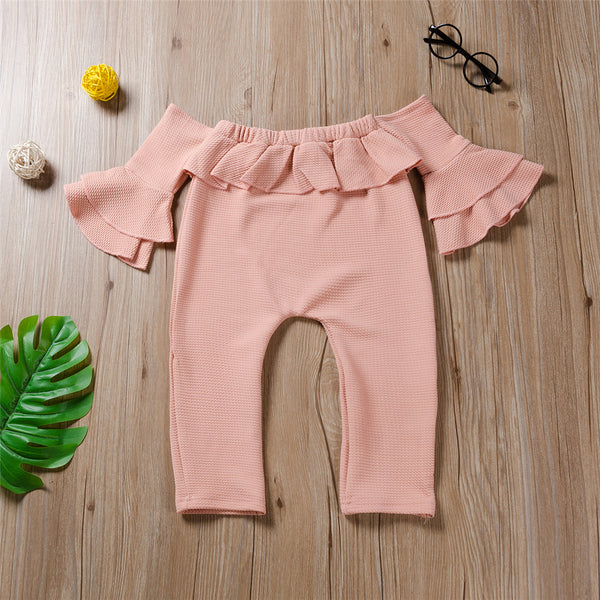 Girls Solid Off Shoulder Ruffled Jumpsuit Girls Clothes Wholesale