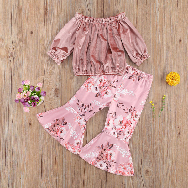 Girls Solid Off Shoulder Top & Bell Printed Trousers Wholesale Girls