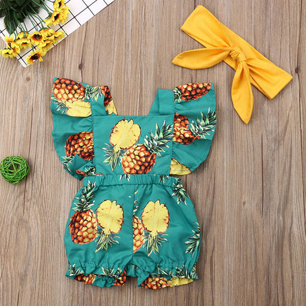Baby Girls Solid Pineapple Printed Romper & Headband Wholesale Baby Clothes