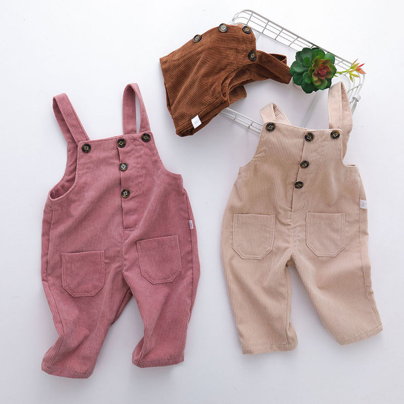 Girls Solid Pocket Casual Corduroy Jumpsuit