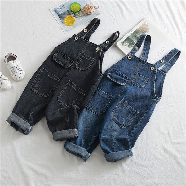 Boys Solid Pocket Daily Jumpsuits