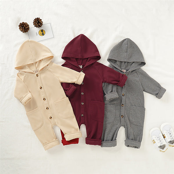 Baby Unisex Solid Pocket Hooded Romper Wholesale Baby Rompers