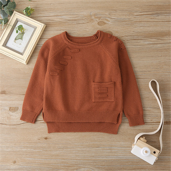 Girls Solid Pocket Pullover Sweaters Girls Boutique Wholesale