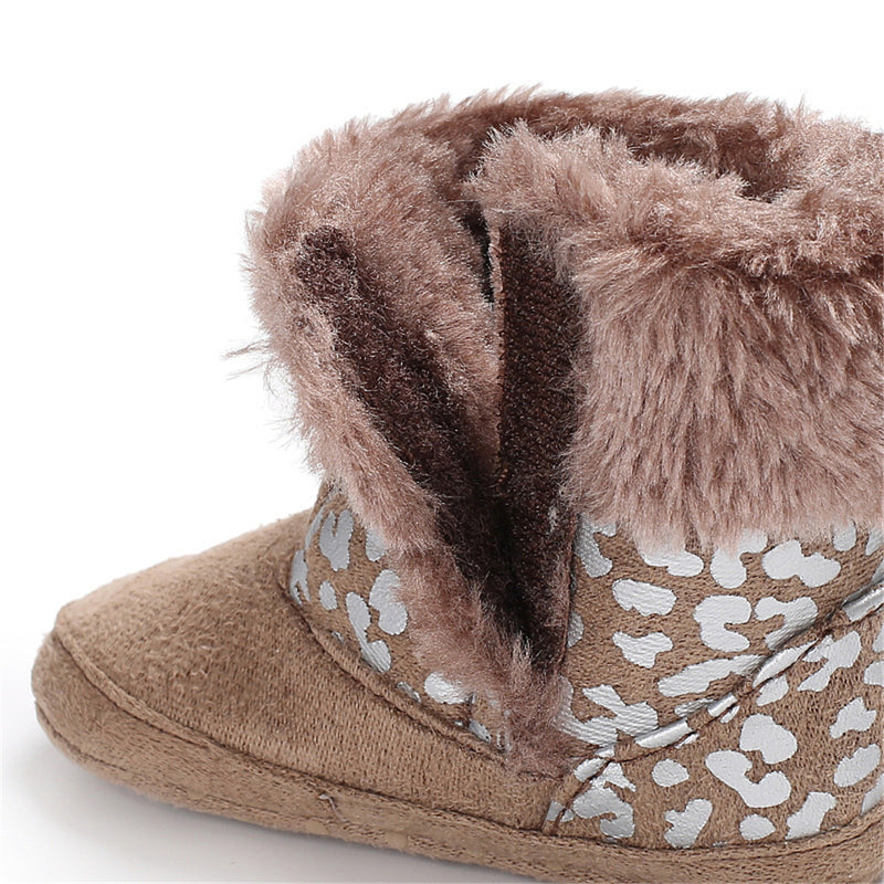Baby Girls Solid Printed Winter Fur Boots Wholesale Children Shoes