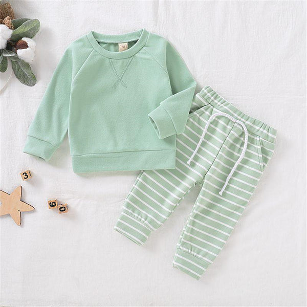 Baby Solid Pullover & Striped Pants