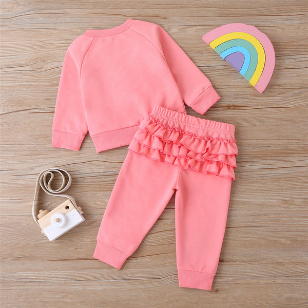 Baby Girls Solid Rainbow Long Sleeve Top & Pants Children Clothes Wholesale