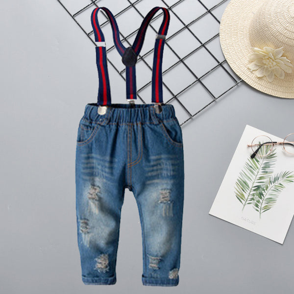 Boys Solid Ripped Denim Overalls Wholesale