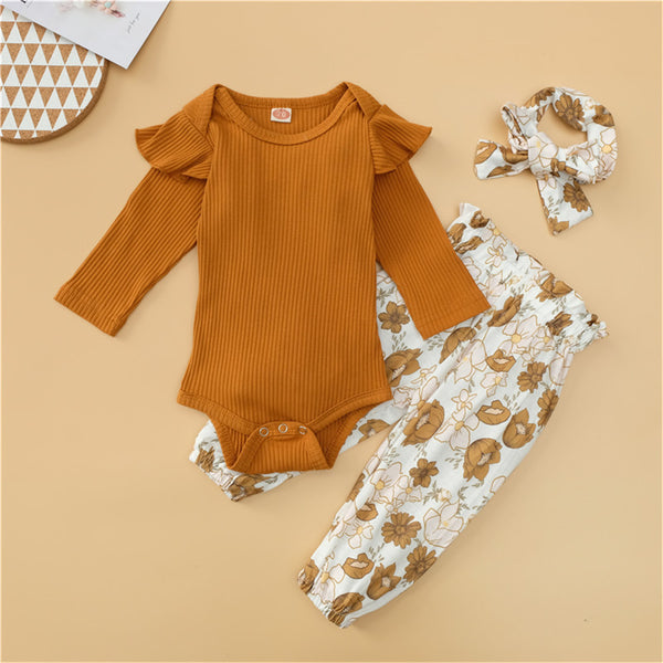 Baby Girls Solid Romper & Floral Pants & Headband Wholesale Baby Outfits