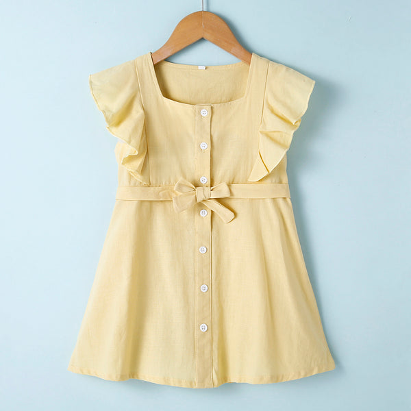 Baby Girls Solid  Ruffled Button Sleeveless Dress Baby Summer Dress