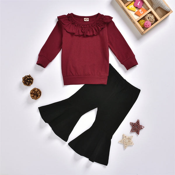 Girls Solid Ruffled Long Sleeve Top & Flare Pants Toddler Girls Wholesale