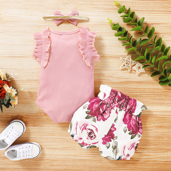 Baby Girls Solid Ruffled Sleeveless Romper & Floral Shorts & Headband Baby Wholesale Clothes