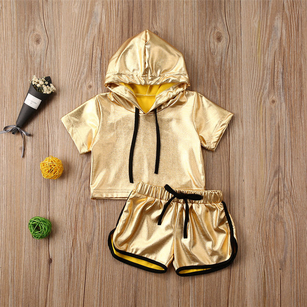 Girls Solid Short Sleeve Hooded Top & Shorts Girls Clothes Wholesale