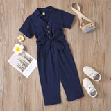 Girls Solid Short Sleeve Lapel Button Waistband Jumpsuit Girls Clothes Wholesale