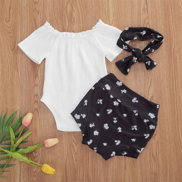 Baby Girls Solid Short Sleeve Off Shoulder Romper & Floral Shorts & Headband Baby Boutique Wholesale