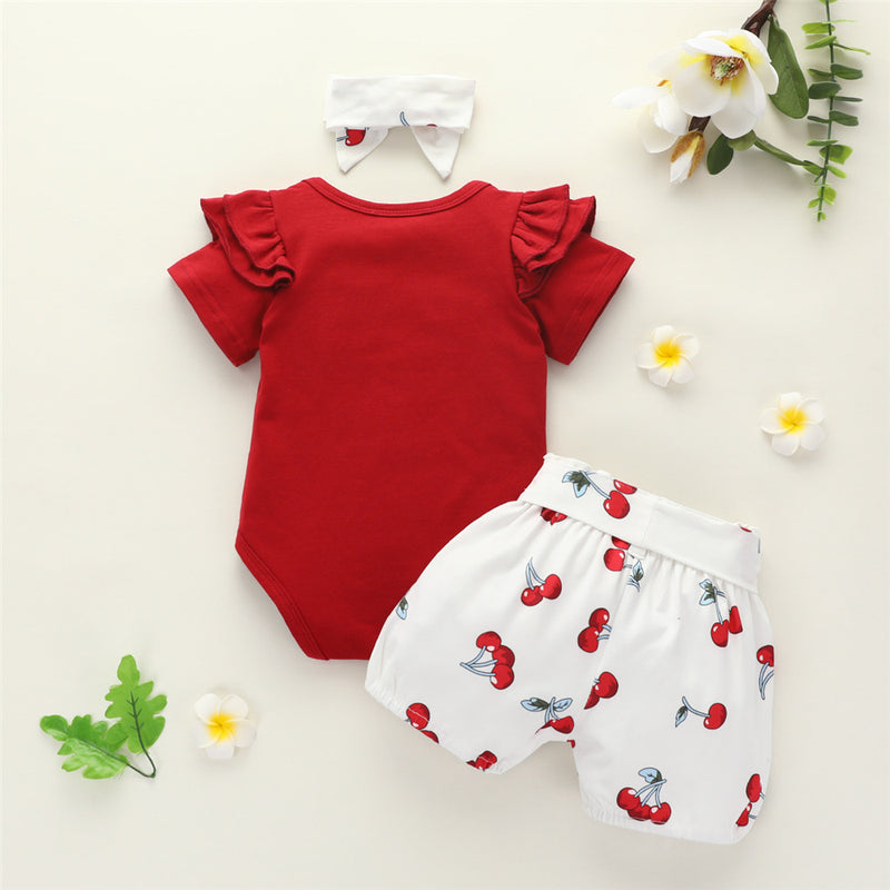 Baby Girls Solid Short Sleeve Romper & Shorts & Headband Baby Wholesale Suppliers
