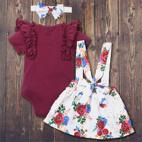 Baby Girls Solid Short Sleeve Ruffled Romper & Suspender Skirt & Headband cheap baby clothes wholesale