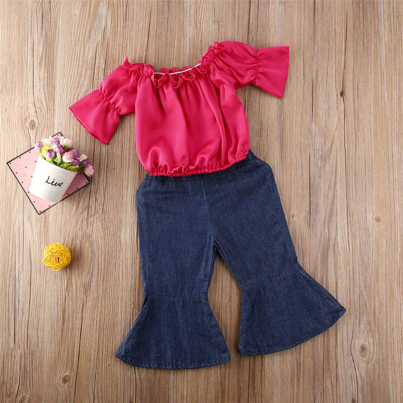 Girls Solid Short Sleeve Top & Bell Trousers Wholesale Girls Boutique Clothing
