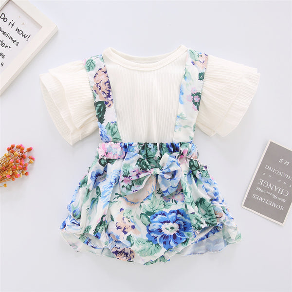 Baby Girls Solid Short Sleeve Top & Floral Printed Suspender Skirt Wholesale Baby Clothes