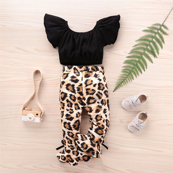 Girls Solid Short Sleeve Top & Leopard Bell Trousers Girls Boutique Clothing Wholesale