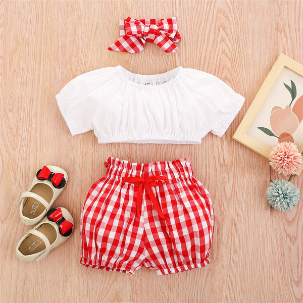 Baby Girls Solid Short Sleeve Top & Plaid Shorts & Headband bulk baby clothes