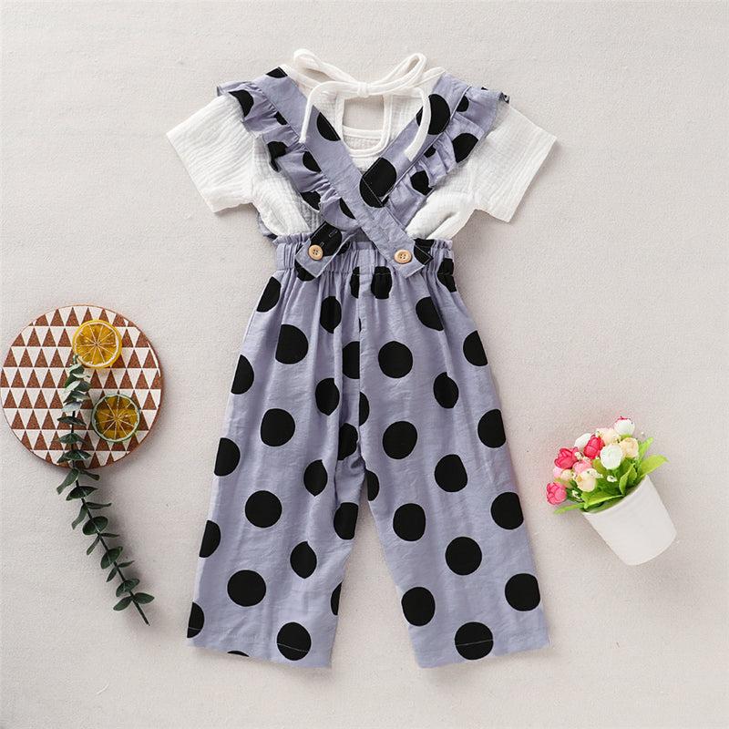 Girls Solid Short Sleeve Top & Polka Dot Printed Jumpsuit Wholesale Girl Clothing