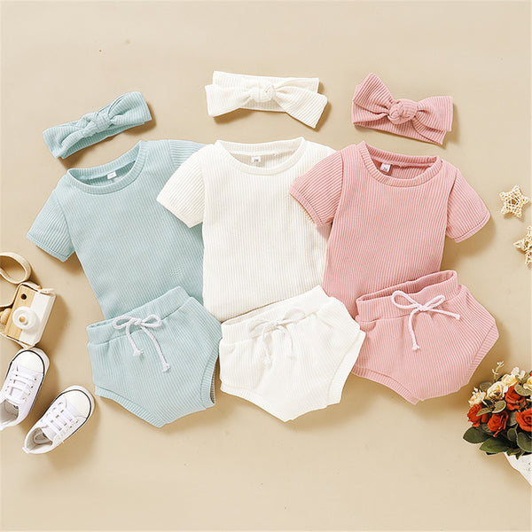 Baby Girls Solid Short Sleeve Top & Shorts & Headband Baby Clothes Suppliers