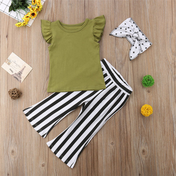 Girls Solid Short Sleeve Top & Striped Pants & Headband kids wholesale clothing