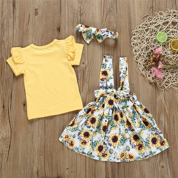 Baby Girls Solid Short Sleeve Top & Sunflower Suspender Skirt & Headband Wholesale Clothing Baby