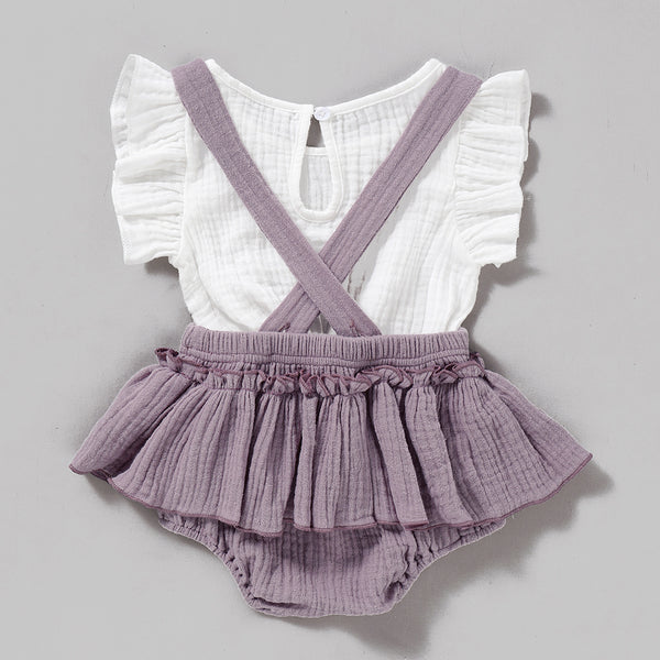 Baby Girls Solid Short Sleeve Top & Suspender Skirt Wholesale Baby Outfits