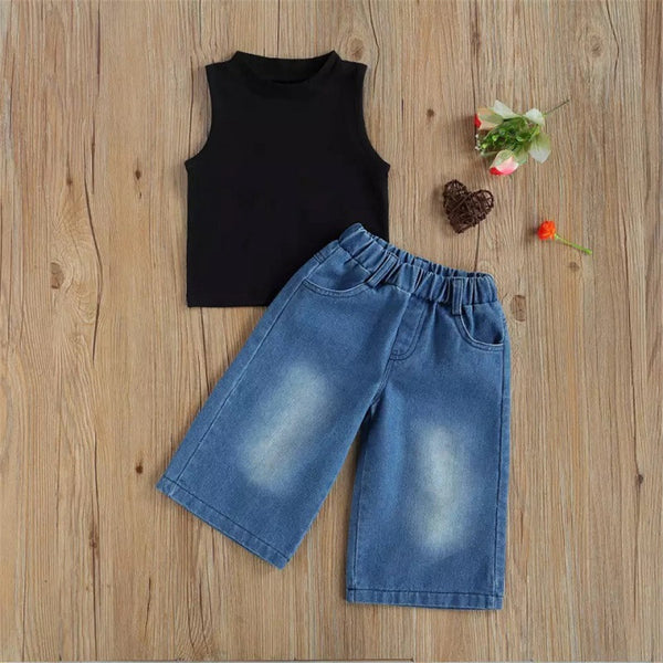 Girls Solid Sleeve Top & Loose Jeans Girls Clothing Wholesale