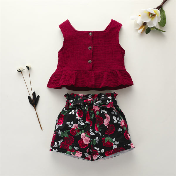 Girls Solid Sleeveless Top & Floral Shorts Toddler Summer Suit Toddler Girls Wholesale