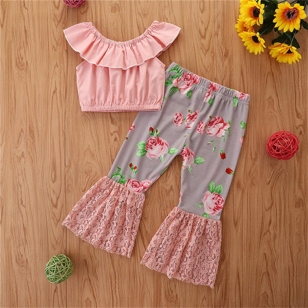 Girls Solid Sleeveless Top & Lace Floral Bell Trousers wholesale childrens clothing