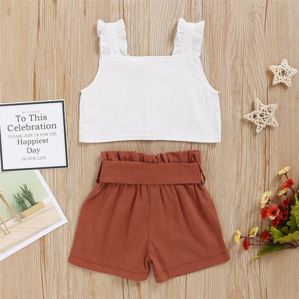 Baby Girls Solid Sleeveless Top & Shorts wholesale baby clothes usa