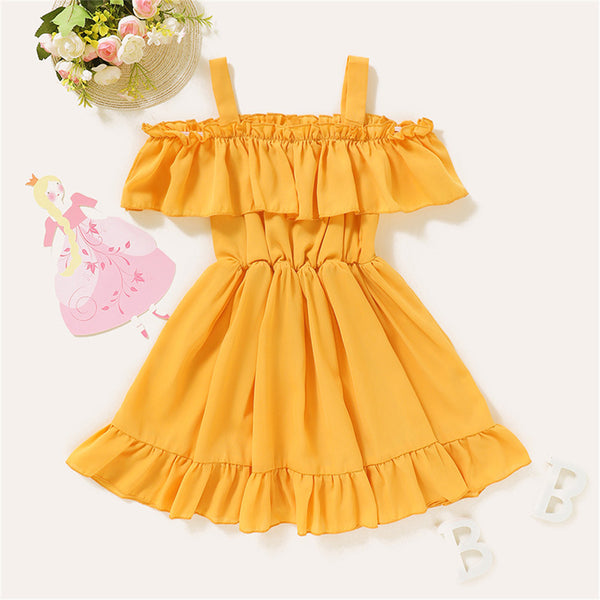 Girls Solid Sling Casual Ruffled Dress Wholesale Clothing For Girls