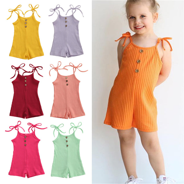 Baby Girls Solid Sling Jumpsuit kids clothes wholesale