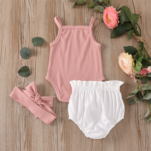 Baby Girls Solid Sling Romper & Bow Shorts & Headband wholesale baby boutique suppliers usa