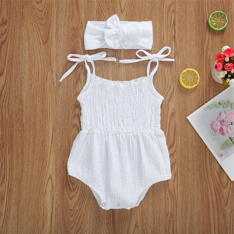 Baby Girls Solid Sling Romper & Headband Cheap Boutique Baby Clothing