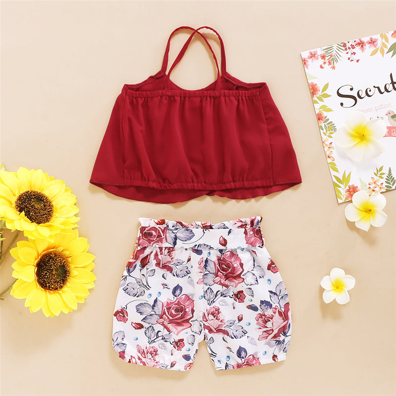 Girls Solid Sling Top & Floral Shorts wholesale childrens clothing