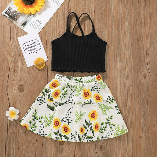 Girls Solid Sling Top & Floral Skirt children wholesale clothing