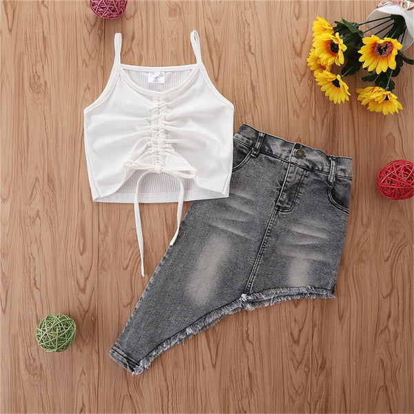 Girls Solid Sling Top & Irregular Denim Skirt Children Clothing Wholesale Usa