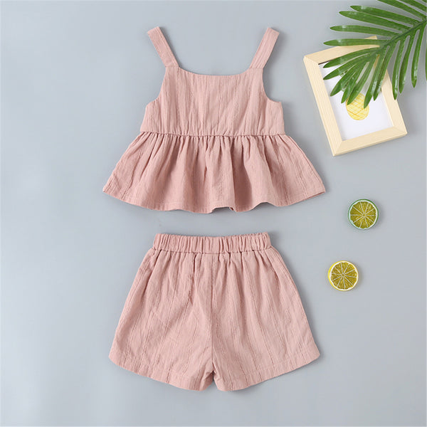 Baby Girls Solid Sling Top & Shorts Wholesale Baby Clothes
