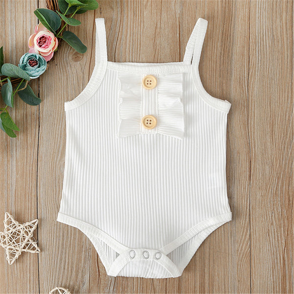 Baby Girls Solid Sling Romper & Shorts Wholesale Clothing Baby