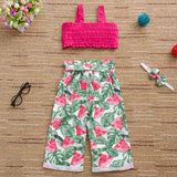 Girls Solid Sling Top & Summer Fruit Printed Pants & Headband Girls Wholesale Clothing
