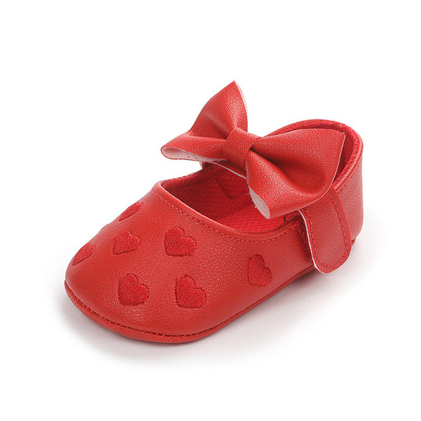 Baby Girls Solid Soft Heart Magic Tape Flats