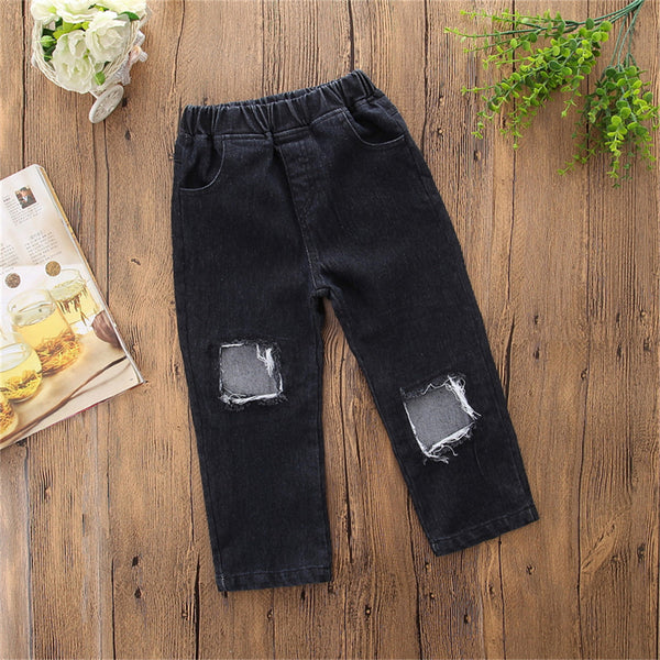 Girls Solid Stylish Ripped Jeans Toddler Girl Wholesale Clothing