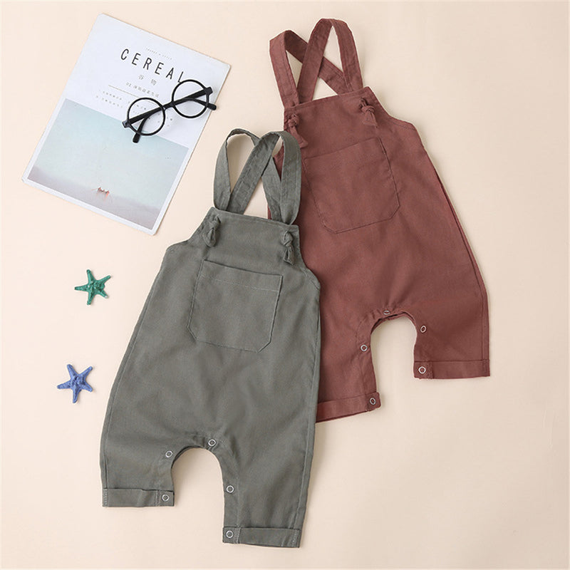 Girls Solid Suspender Pocket Jumpsuits