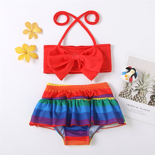 Girls Solid Tie Up Bow Top & Printed Shorts Swimming Suit 2 Piece Swimsuit With Shorts