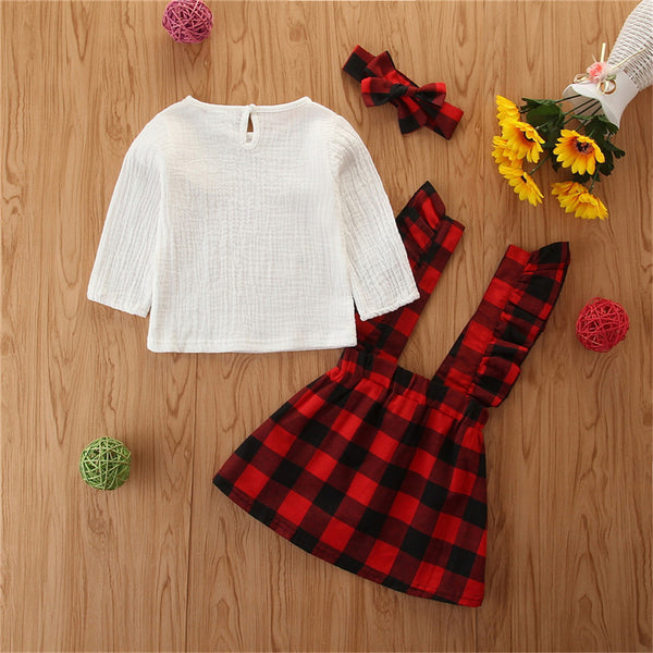 Girls Solid Top & Plaid Suspender Skirt Wholesale Girl Clothing